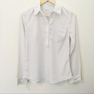 Merona • Polka dot popover white & black button up